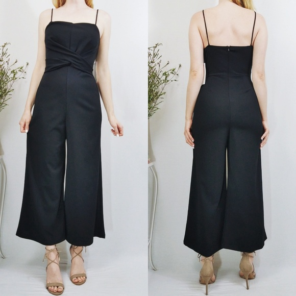 80d01aac467 LUSH Diamandis Black Twist-Front Jumpsuit